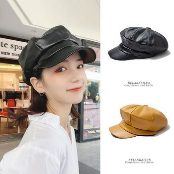 Kobiece berety ośmiokątne czapki damskie czapka z daszkiem materiał PU Outdoor Street modne dziewczęce modne wszystkie mecze tanie i dobre opinie liser Ośmioboczna Kapelusze BT0008 Stałe WOMEN Faux futra