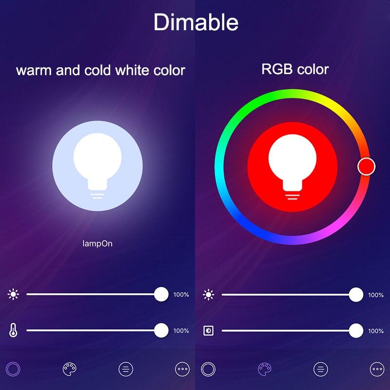 Image 2 - Lonsonho 2PCS E27 Tuya Wifi חכם אור LED הנורה מנורת RGB + W + C 9W חכם חיים אפליקציה טיימר דימר תואם Alexa Google בית-במודולים אוטומטיים לבית מתוך מוצרי אלקטרוניקה לצרכנים באתר