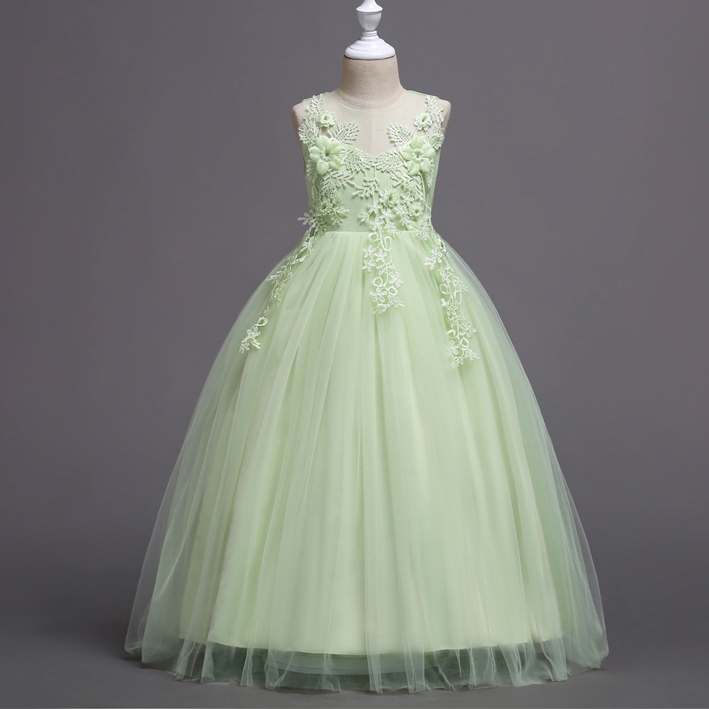 Summer New Style Children Wedding Dress Gauze Princess Dress Child Evening Gown Nobility Elegant Glorious Sprawled-Long Skirts