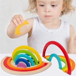 Puzle creativo de madera de arcoíris para niños, juegos educativos Montessori, juguetes para niños, aprendizaje de formas geométricas