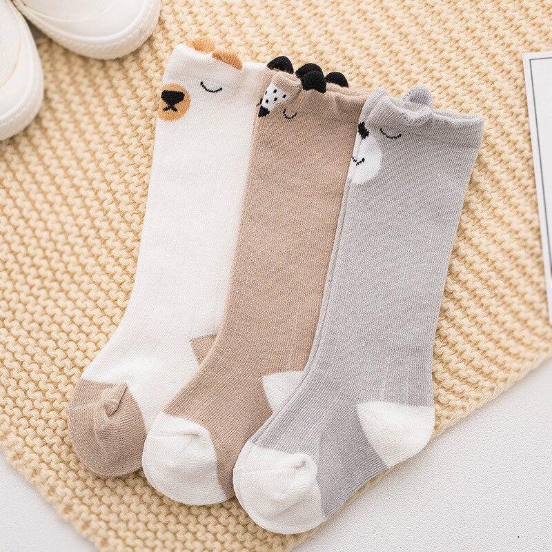 Купить с кэшбэком 3 Pair/Set Baby Knee High Socks Children Girls Boys Striped Knee Socks Spring Winter Baby Long Socks Cotton Kids Sokken Socks
