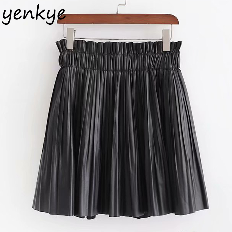 Skirts Womens Vintage Black Faux Leather Skirt Fashion Elastic High Waist Pleated Skirt faldas mujer moda 2019 XDWM2553 image