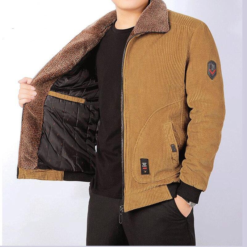 Winter Jacket Men Thick Warm Corduroy Cotton Parkas Men Casual Loose Turn Down Collar Multi Pockets parkas hombre invierno
