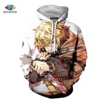 SONSPEE 3D Print Men Women Anime Vinland Saga Thorfinn Manga Comics Harajuku Hooded Hoodies Sweatshirts Casual Long Sleeve недорого