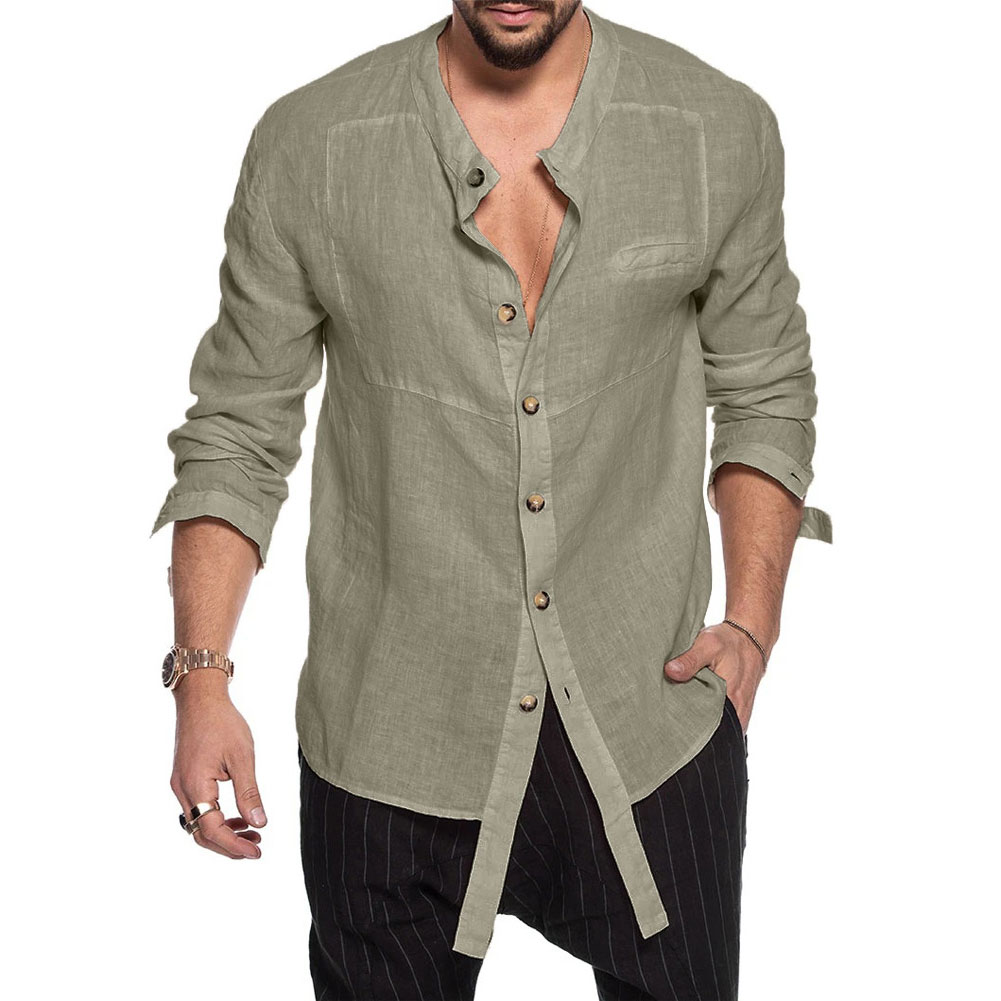 Ultimate SaleÆShirt Irregular-Top Stand-Collar Long-Sleeve Casual-Style Summer Solid Men