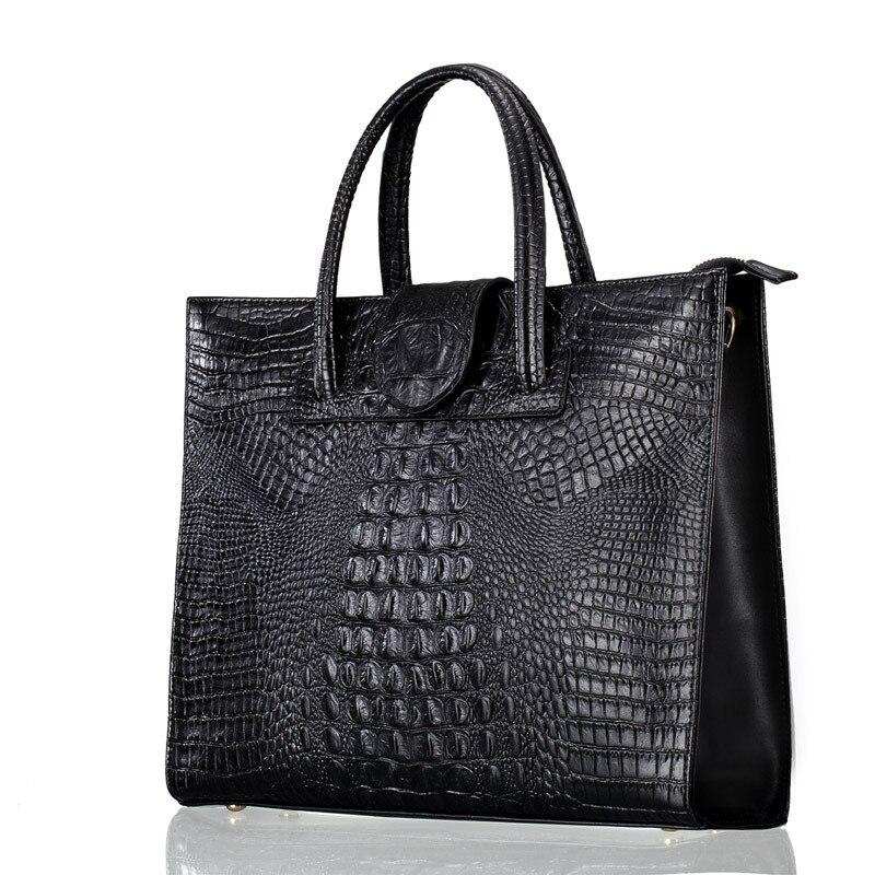 Bag Briefcase Laptop-Bag Women Handbag Crocodile Business Large-Capacity High-Quality