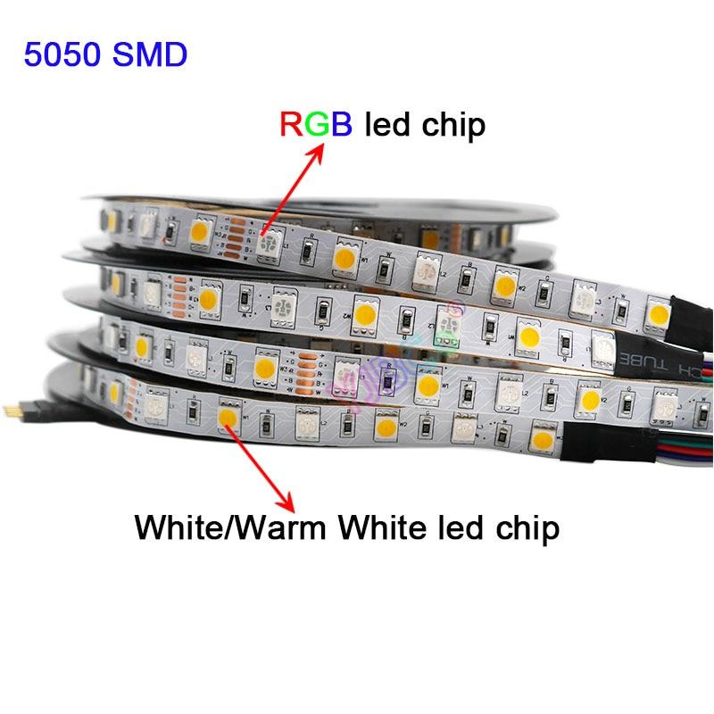 SMD 5050 Flexible Led Lamp Tape 5m DC12V 24V RGBW RGBWW RGB+CCT LED Strip Light,RGB +( White/Warm White)