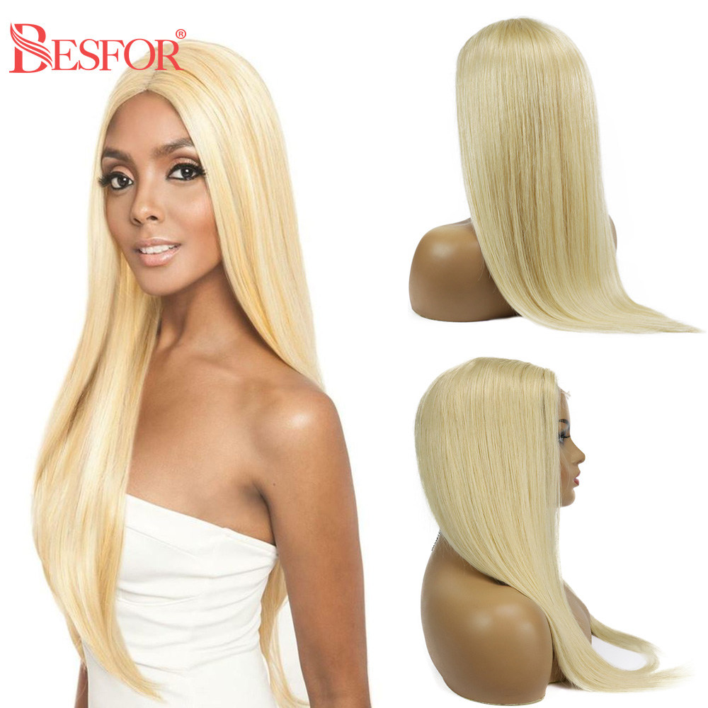 BESFOR Lace Closure Wig 4×4 Lace Front 613 Blonde 150% Density Straight Human Hair Wigs Pre Plucked Glueless With Baby Hair