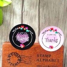 80pcs/lot Lovely Round Thanks I LOVE YOU Handmade Cake Packaging Sealing Label Kraft Sticker Baking DIY Gift Stickers