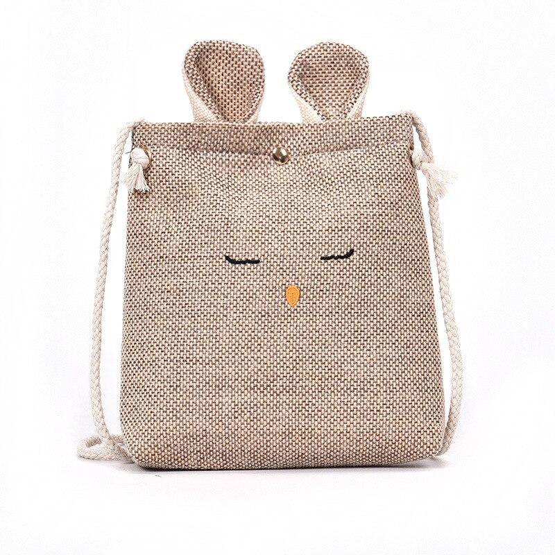 Messenger-Bag Small-Bag Mobile-Phone-Change Ears-Shoulder And Linen Art Bunny Retro Parent-Child