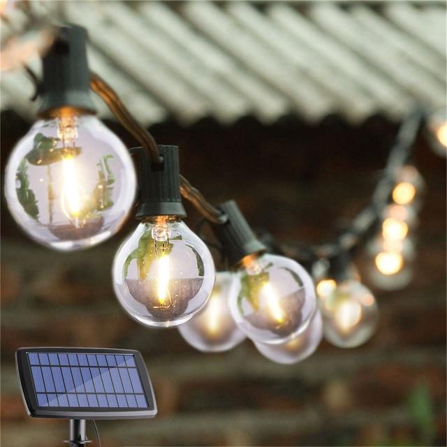 DCOO G40 غلوب سلسلة أضواء الشمسية مع 10/25 واضح LED لمبات خمر الفناء الخلفي أضواء معلقة داخلي/في الهواء الطلق أضواء