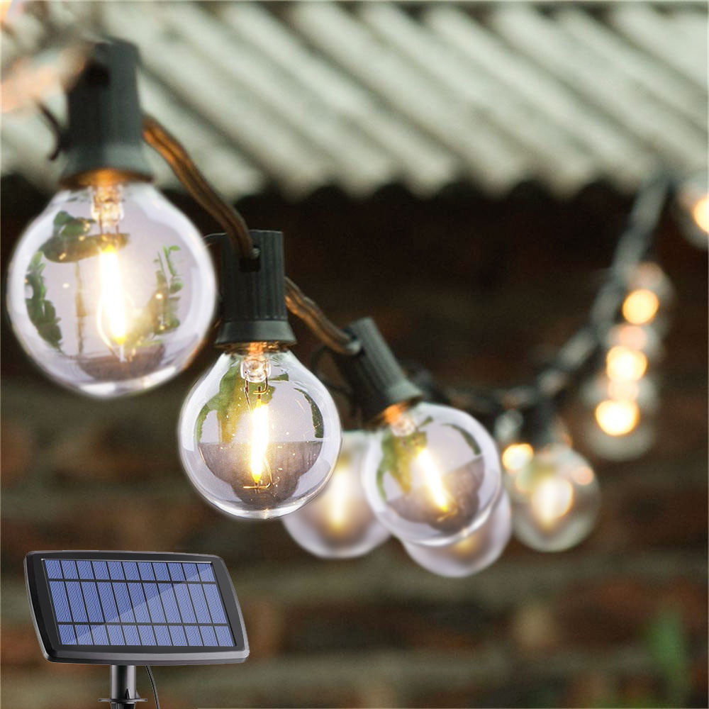 DCOO G40 Globe Solar String Lights With 10/25 Clear LED Bulbs Vintage Backyard Patio Lights Hanging Indoor/Outdoor Lights