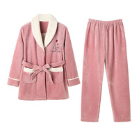 Composite Velvet Pajama Sets Women's Winter Thick Plus Warm Coral Home Clothing Sleep Girls Wear Ethika 2 Piece Suits Lounge