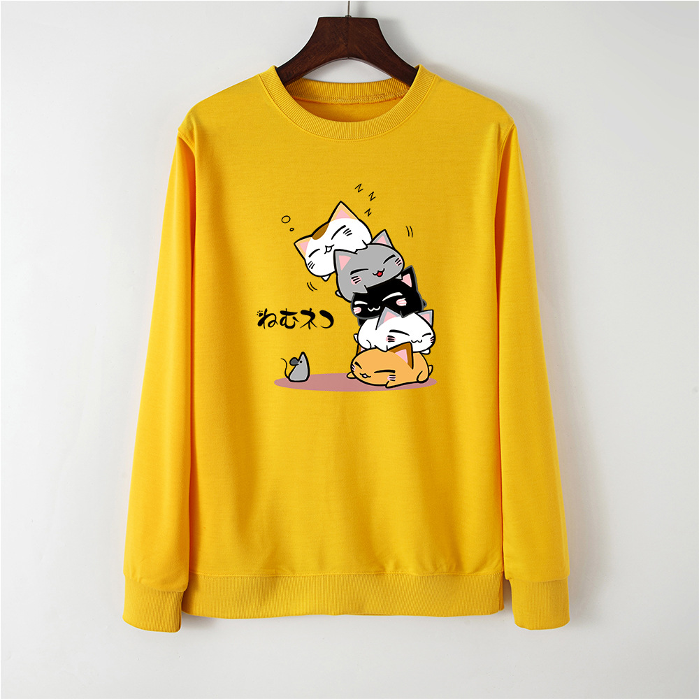 Cute Cat Print Women Hoodie Pullover Streetwear Female Casual Pullovers Sweatshirt Spring Autumn Hoodies Sweatshirts Tops