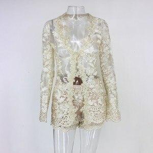 Image 5 - Conjunto de dos piezas formado por Top y pantalón corto, elegante, transparente, con encaje Floral, 2019