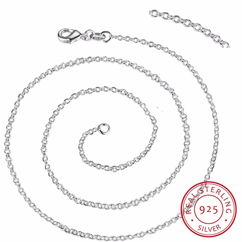 Wholesale 50pcs/lot 925 Sterling Silver 1mm Link Rolo Chain 16