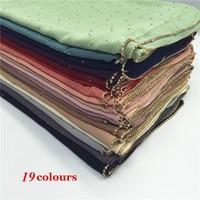 19 color women plain bubble chiffon chain scarf rhinestone scarves and shawls shimmer muslim hijab foulard