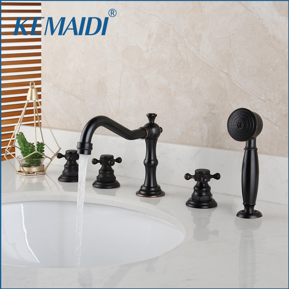 KEMAIDI Solid Brass Bathroom 5 Pcs Bathtub Faucet Shower Set Deck Mounted 2 Handles ORB Black 3 Pcs Bathtub Basin Mixer Faucet
