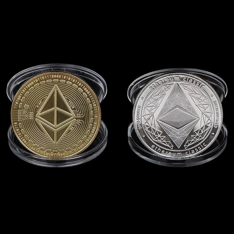 1 шт., позолоченная/серебряная монета эфириума, виртуальная памятная монета, коллекция искусства, подарок