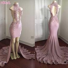 Женское атласное вечернее платье с юбкой годе розовое открытой