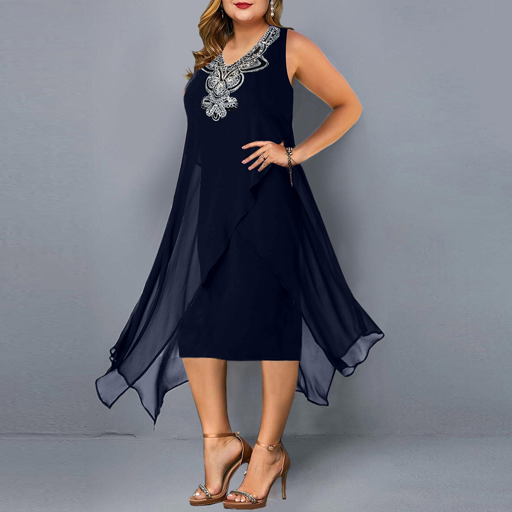 Plus Size Casual  Elegant Embroidery Sequin  5