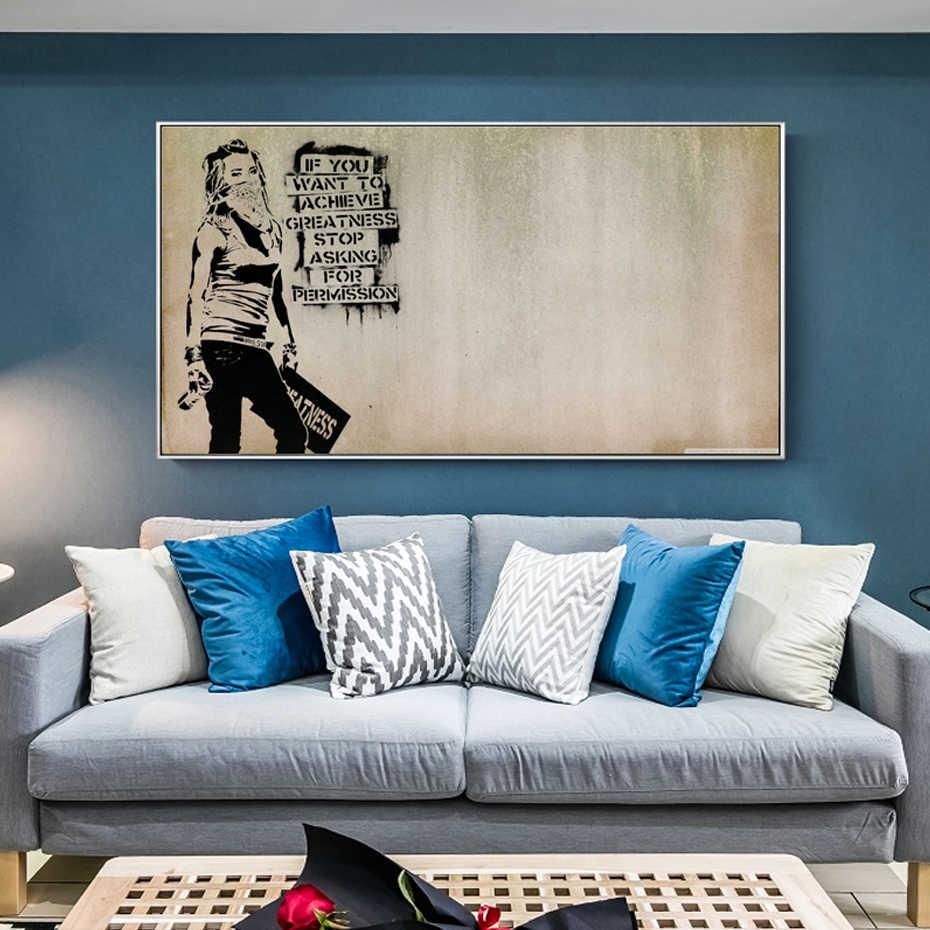 كن عظيم يقتبس Banksy الكتابة على الجدران فتاة الملصقات قماش لوحات صور فنية للجدران قماش ملصقات الحائط طباعة المعيشة ديكورات للحائط