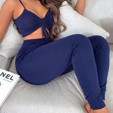 Women Sexy Solid Drawstring Ruched Top & Long Pant Set 2 Pie