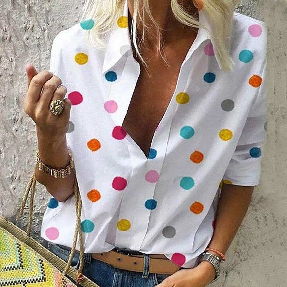 OEAK Verão Blusa Mulheres Tops 2019 Casual Manga Comprida Solta Dot Impressão Profunda V Pescoço Camisa Blusa Mujer Bluzki Damskie de Moda