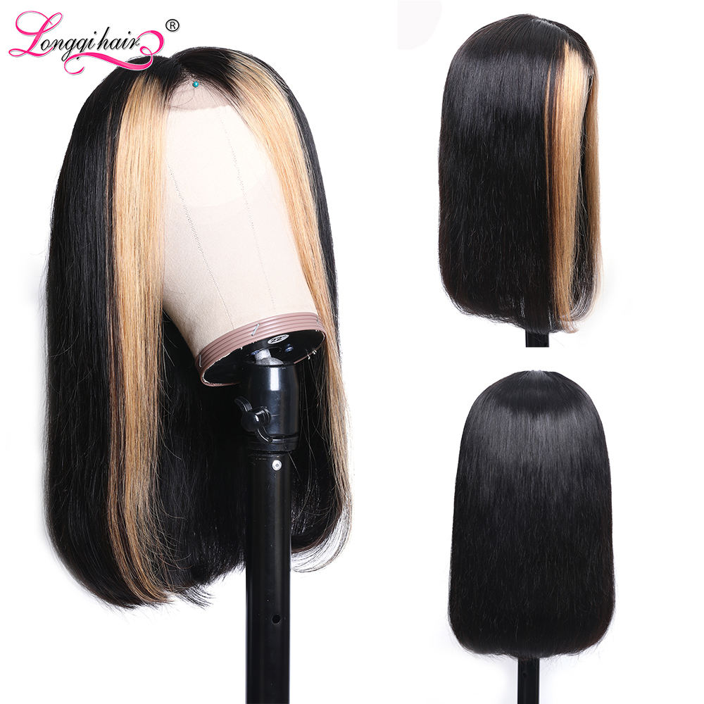 H806c5c4c79d44635b9a61664d553610af Longqi Highlight 27# Bob Lace Front Wigs High Ratio 180% 13x4 Lace Front Human Hair Wigs Remy Brazilian Straight Lace Front Wigs