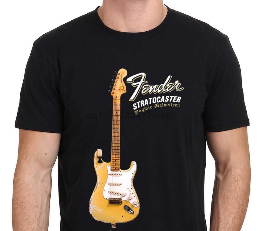Camisetas estampadas personalizadas camiseta YNGWIE MALMSTEEN Stratocaster guitarra eléctrica camiseta negro