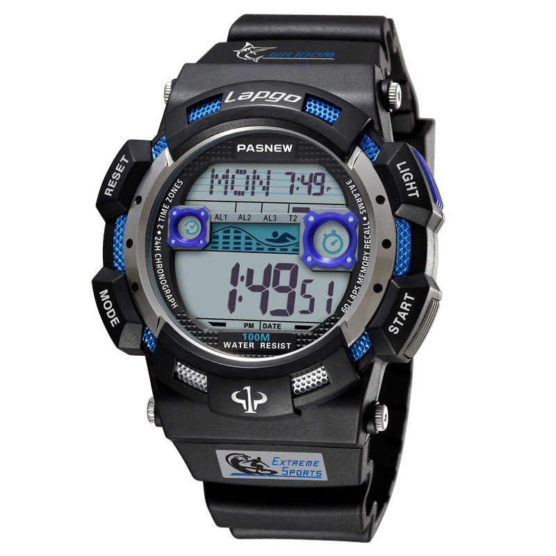 PASNEW Top Brand Sports Watches Men Led Digital Watches <font><b>100M</b></font> Waterproof Swim Dive Watches Multifunctional Electronic Watch 2020 image