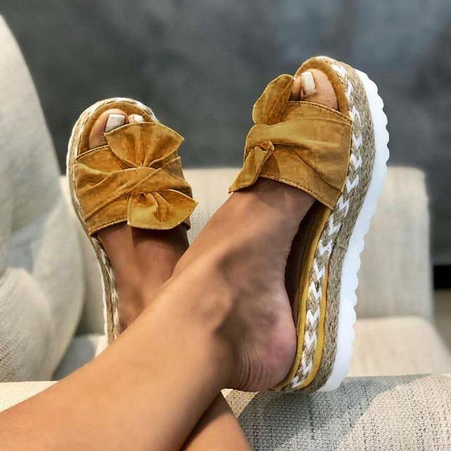 Women Sandals Platform Sandals Shoes Women Bow 2020 Summer Sandals Slipper Indoor Outdoor Flip-flops Beach Shoes Female Slippers 5