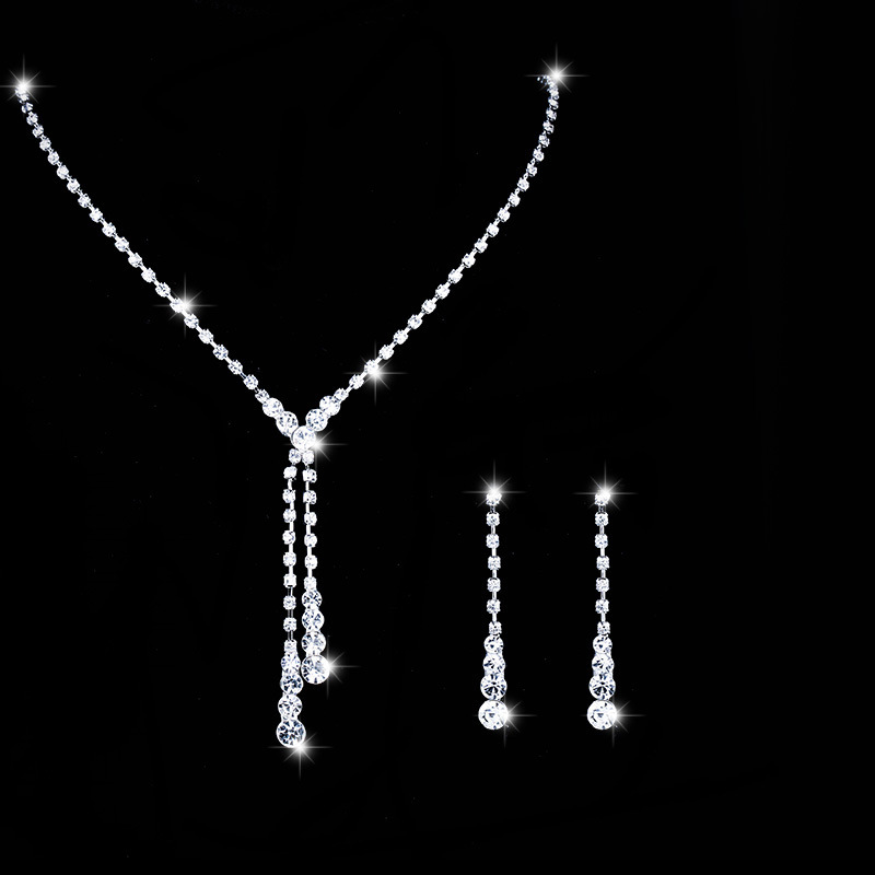 Classic Wedding Jewelry Sets Rhinestone Necklace Earring Cheap Two Stes Jewelry Accessories