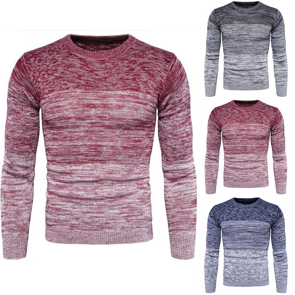 Casual Autumn Winter Men Gradient Long Sleeve Round Neck Sweater Fitness Slim Knitted Top