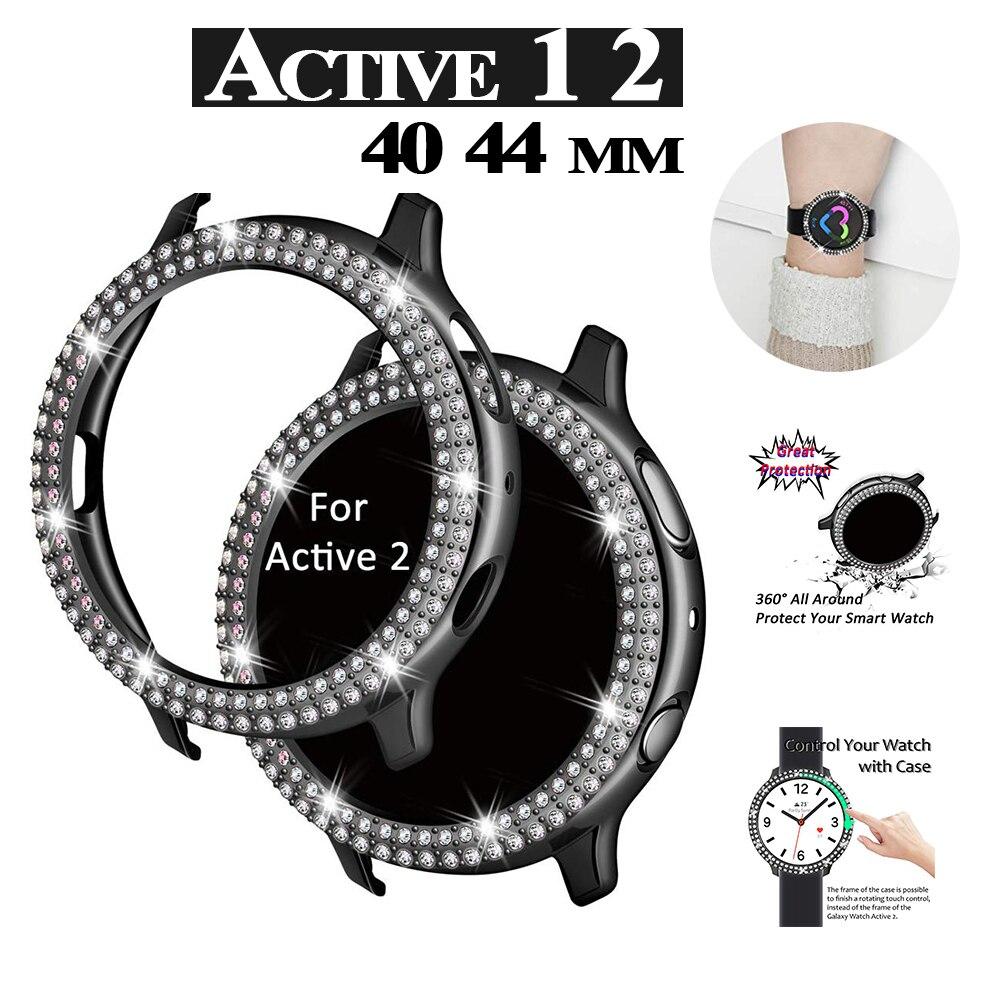 Алмазный чехол для Samsung galaxy watch active 2 1 40 44 мм Galaxy Watch, защита для активного бампера, полная защита экрана