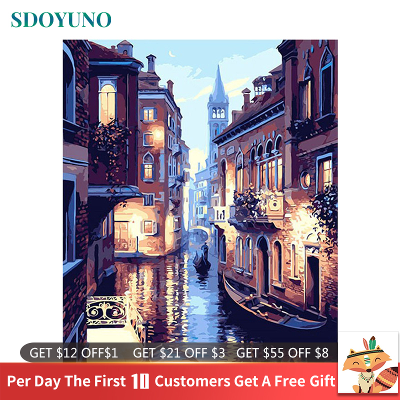 SDOYUNO Frame DIY Painting By Numbers Kits Venice Night Landscape Hand Painted Oil Paint By Numbers Unique Gift For Home Decor(China)