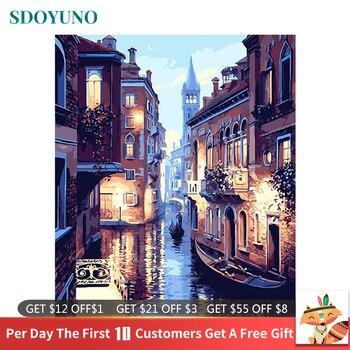 Peinture à numéros, Venise la nuit, peinture à huile