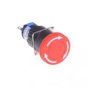 16mm Red Mushroom Emergency Stop E-stop Switch 3 Pins NO+NC DC 30V 5A AC 250V 3A Emergency Stop Push Button Switch