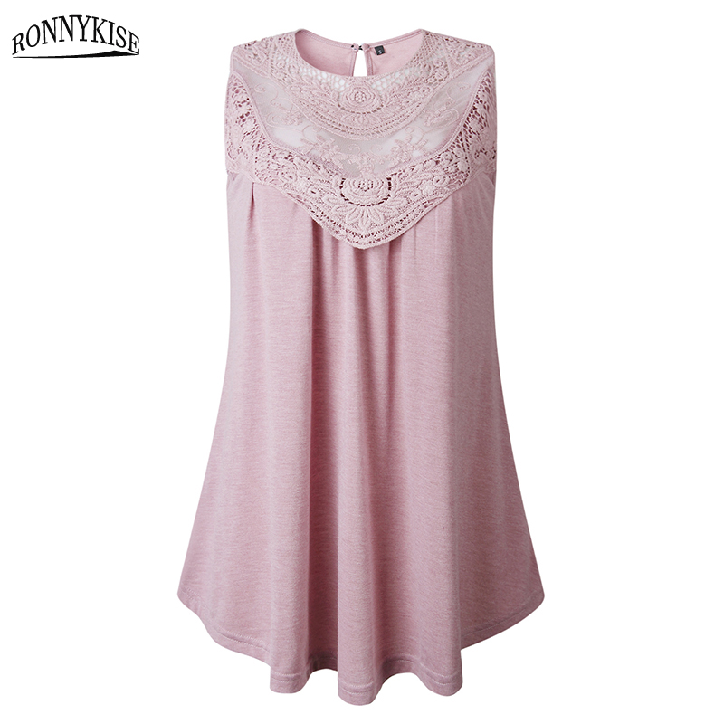 RONNYKISE Sleeveless Tops Womens Fashion Sexy Lace O neck Casual Tank Tops Summer Loose Women Clothes in Tank Tops from Women 39 s Clothing