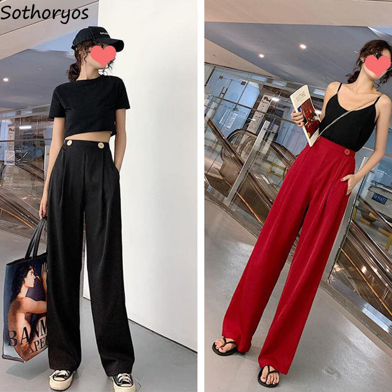 Pants Women Red Elegant Wide Leg Solid Trousers Womens Chic Breathable Soft High Quality All-match Korean Kpop Ulzzang Vintage