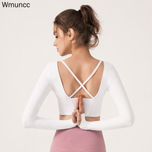 Wmuncc  Sport Crop Top Pad  Women Yoga Shirts  Long Sleeves with Thumb Hole Running Fitness Workout Gymwear Open Back Breathable