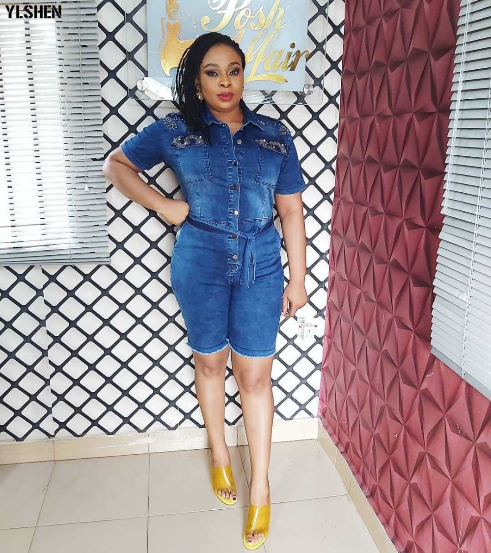 African Dresses For Women Denim Jumpsuit African Clothes Africa Dress Dashiki Ankara Style Mom Jeans Plus Size Africa Clothing 05