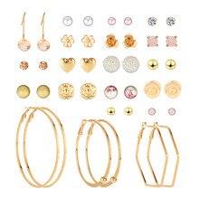 купить 20Pairs/Set Alloy Resin Rhinestone Zircon Pearl Flower Earrings for Women Cute Heart Small Stud Earrings Fashion Earing дешево