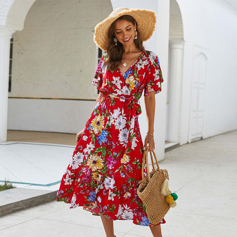 Ladies Floral Printed Women Dress A-Line Deep Ruched V-Neck Short Sleeve Midi Dress Elegant Summer Dress Vestidos De Verano 2020