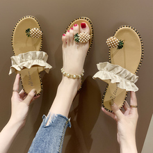 2020 New Summer Womens Pineapple Beads Sweet Slippers Ladies Casual Leisure Girls Beach Seaside Holiday Shoes