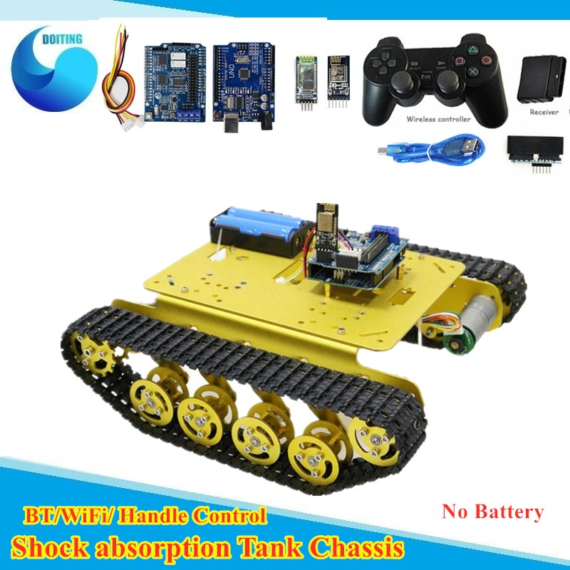 <font><b>TS100</b></font> Wifi/Handle/Bluetooth Control Smart Robot <font><b>Tank</b></font> Chassis Car Kit for Arduino with U NO R3, 4 Road Motor Driver Board image