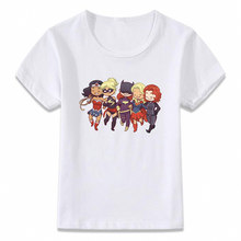 Kids Clothes T Shirt Strong Girls Unite Wonder Woman Captain Marvel Black Widow Artwork Boys Girls Toddler Tee(China)