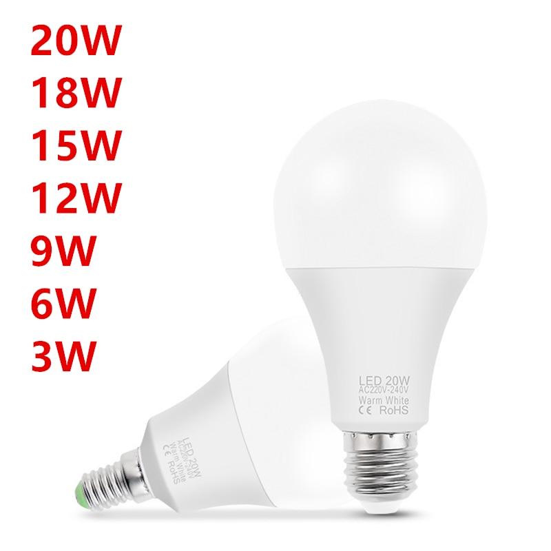 10 pièces lampe à LED E14 E27 AC 220V LED ampoule lumière LED projecteur lampe de Table 3W 6W 9W 12W 15W 18W 20W