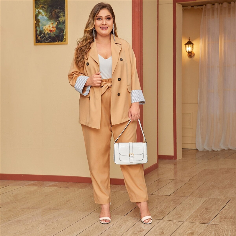 Plus Size Khaki Double Breasted Blazer and Paperbag Waist Belted Pants