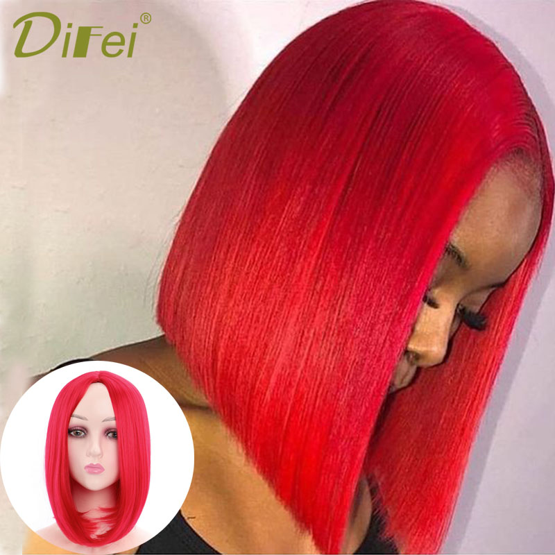 DIFEI Medium-long Straight Hair Bobo Hairstyle  Synthetic Wig Separates From The Middle Part Red Wig For Black And White Women